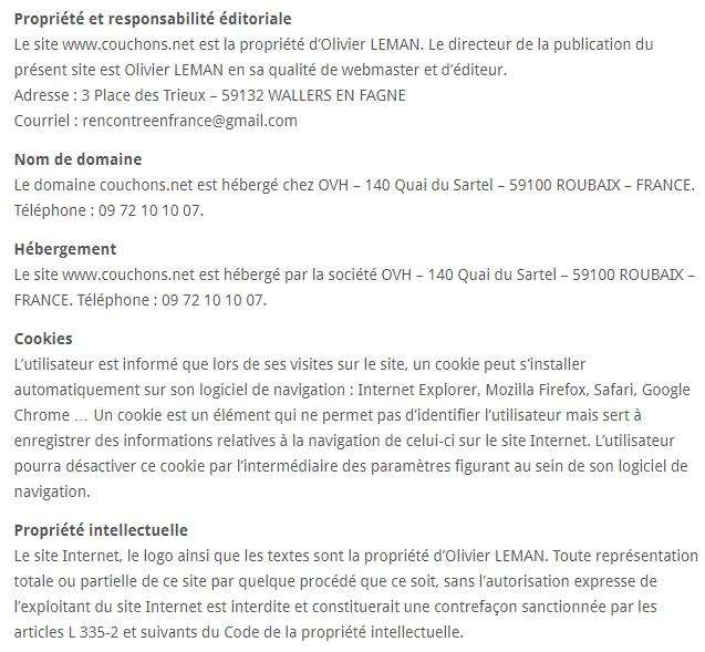 Mentions Légales du Site Couchons.Net !